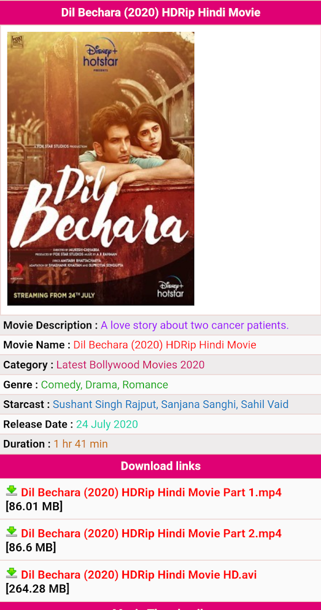 {Download Dil Bechara movie} 100% Free From illegal website Movievilla