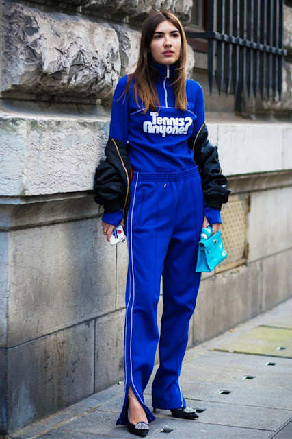 athleisure street style, track pants, zip up street style