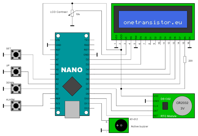 Schematic of Arduino alarm clock with DS1302 RTC module
