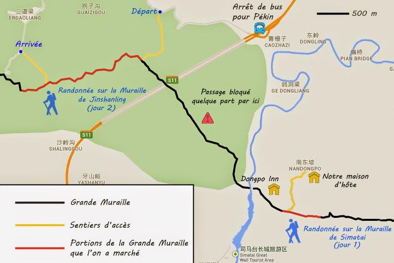 Agrandissement sur les régions de Simatai et de Jinshanling