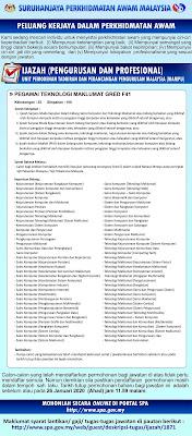 Permohonan Jawatan Kosong Pegawai Teknologi Maklumat FT41 2020