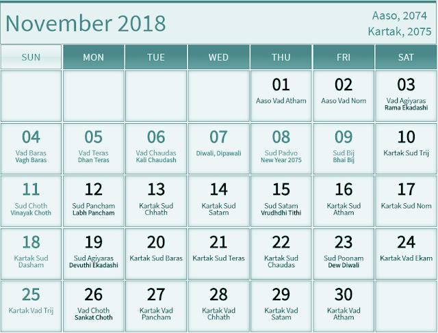 November 2018 Hindu Calendar with Tithi