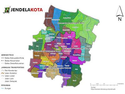 Peta Pembagian Kelurahan di Kota Pekalongan