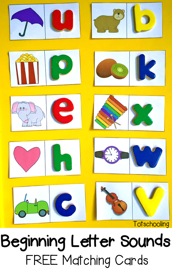 Beginning Letter Sounds: Free Matching Cards | Totschooling - Toddler ...