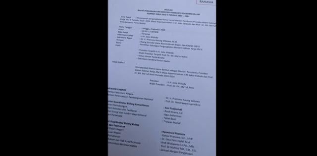 Beredar Salinan Susunan Kabinet, Ada Nama Mahfud, Fadli Zon, Najwa, AHY, Adian Hingga Tsamara