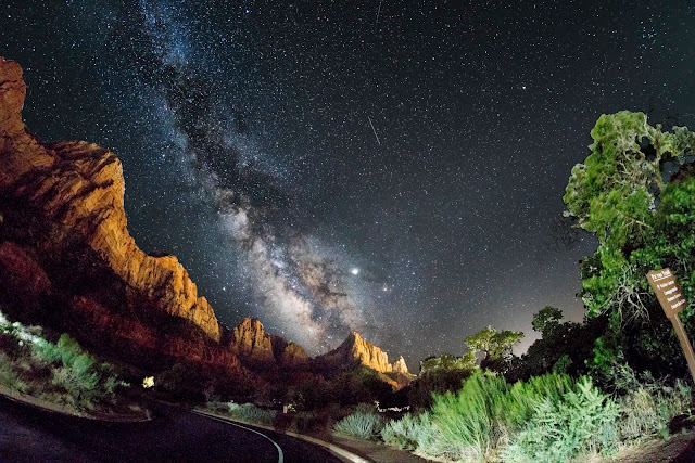 Milky way rising over the Bridge Mountain and the East Temple in Zion National Park