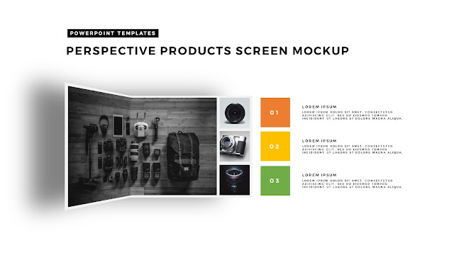 Perspective Folding Effects in Free PowerPoint Template for Products Screen Mockup