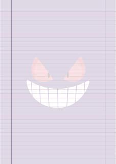 Papel Pautado do Gengar Pokemon PDF para imprimir na folha A4