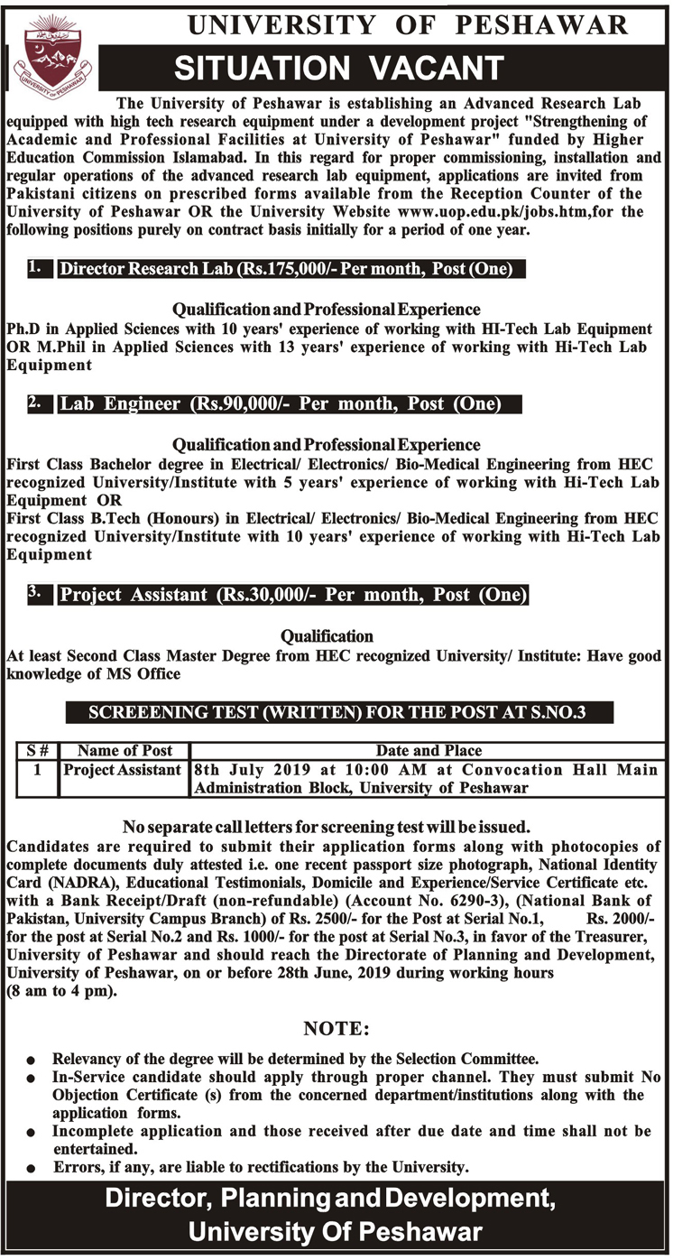 Latest Vacancies in University of Peshawar