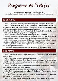 PROGRAMA DE FESTEJOS DE LA ROMERÍA DE LA VIRGEN DE LA ESTRELLA 2016