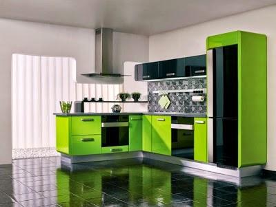 Cocina color verde y negro