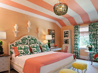 Pink stripe ceiling decor for bright bedroom ideas with green patterned headboard pillows and curtains