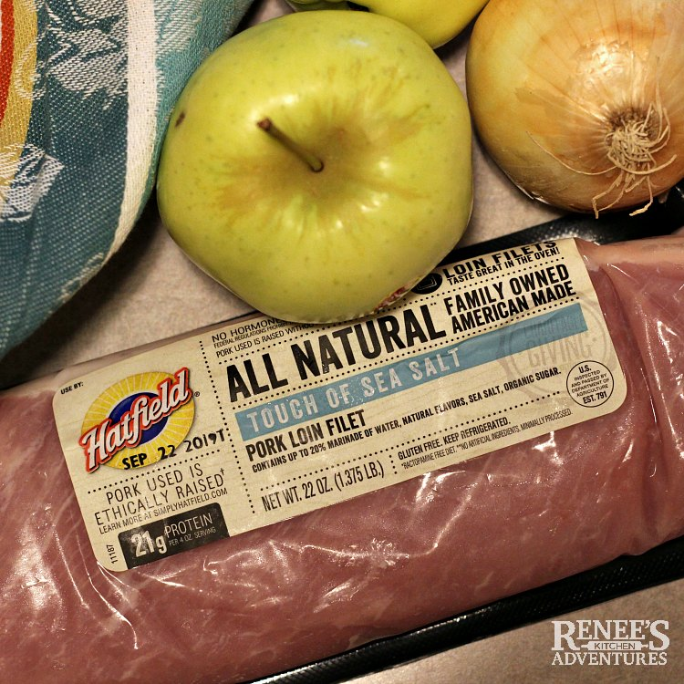 Ingredient shot of pork loin filet, apple, and onion to make Pork Loin Filet with Apples and Onions by Renee's Kitchen Adventures