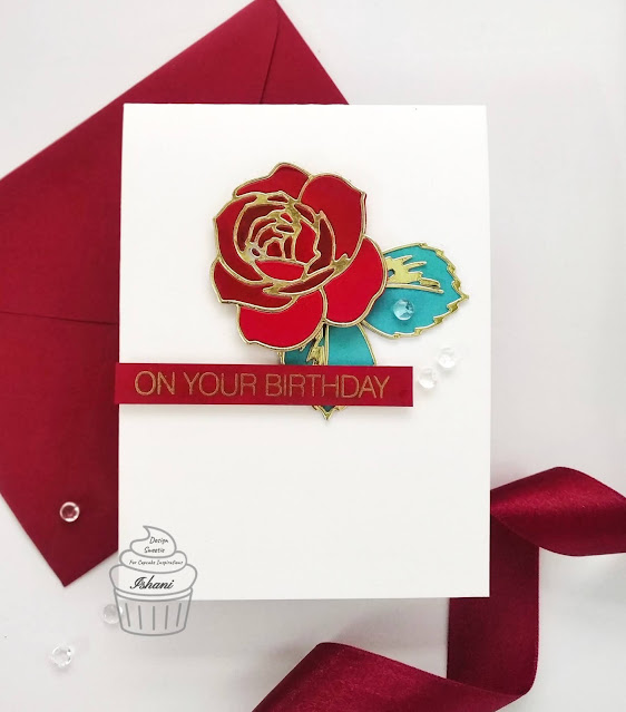Altenew Layered rose die card, CAS card, Maroon and gold, Beautiful Birthday card, Quillish
