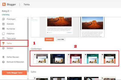 Tampilan daftar tema - Tutorial Membuat Blog dengan Blogger.com