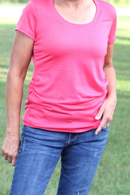 The Confident Stitch Rayon Lycra Coral knit made into Angela Wolf's Ruched T