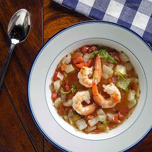 Fennel Soup with Shrimp and Beans
