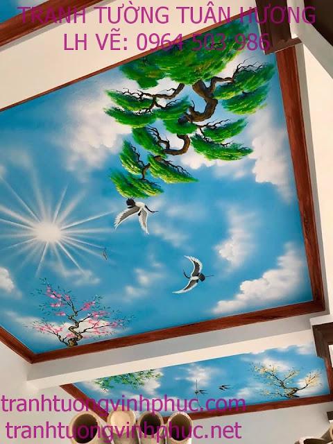 vẽ trần mây 3d và tranh tường tại ngã 4 me tam dương1