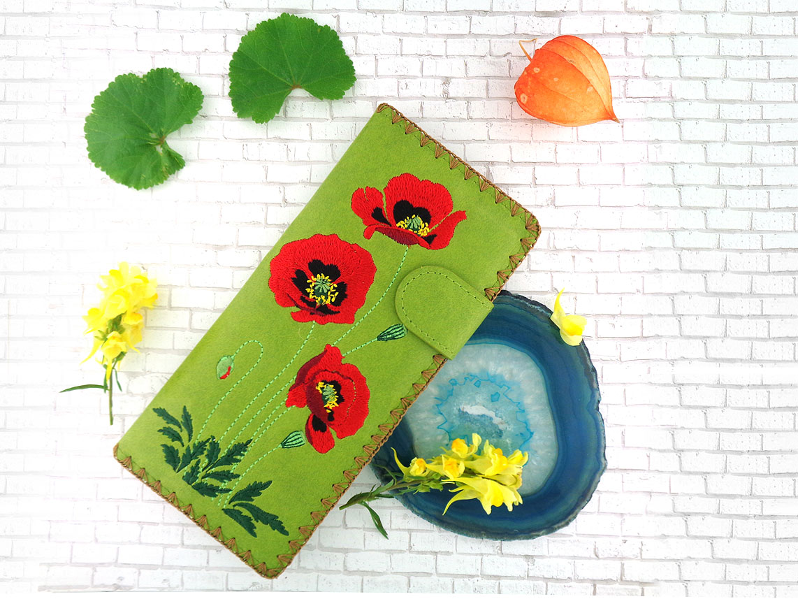 LAVISHY wholesale vegan fashion accessories-Poppy flower embroidered flat wallet