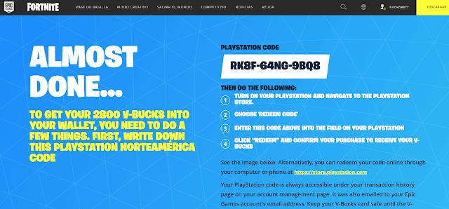 Código de paVos Fortnite para PS4