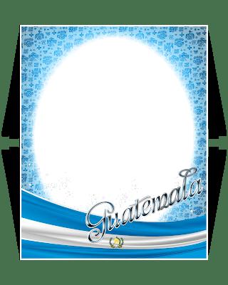 marco con fondo transparente decorado con la bandera de guatemala
