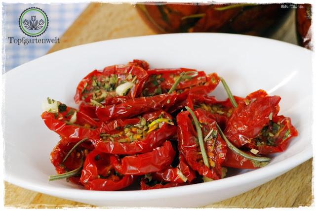 Gartenblog Topfgartenwelt Antipasti: halbgetrocknete in Öl eingelegte Tomaten purer italienischer Genuss