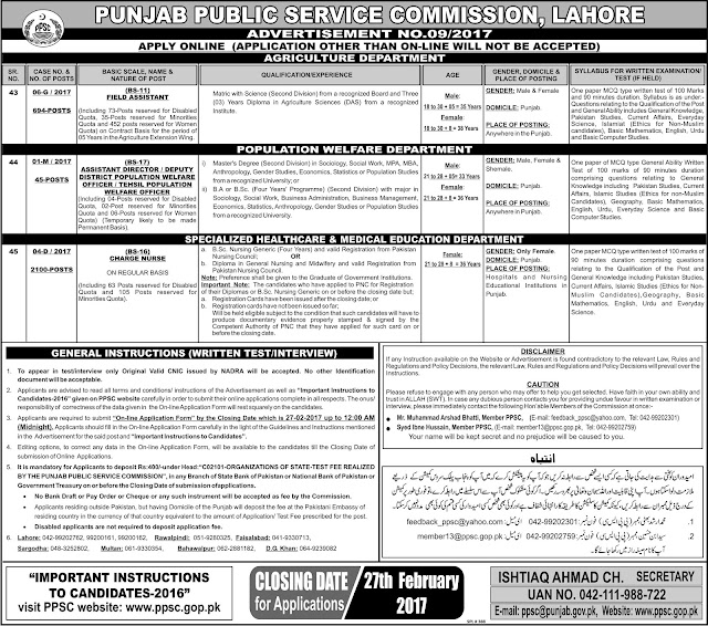 7823 Jobs are announced in Punjab Public Service Commission Pak Creamy Sunday 12-2-2017 Jobs Ad