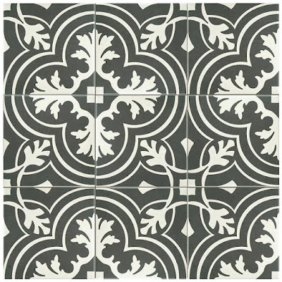 charcoal gray and white patterned tile