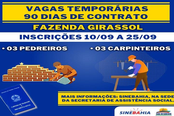 Sine Bahia de São Desidério oferece vagas temporárias de empregos no município