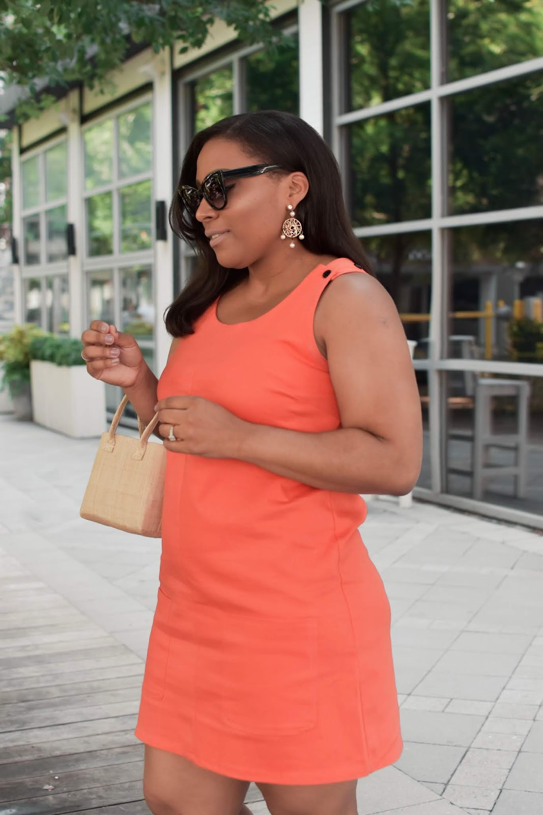 Patty's Kloset, Lookbookstore, orange dresses, easy summer outfits, rockport shoes, affordable oufits