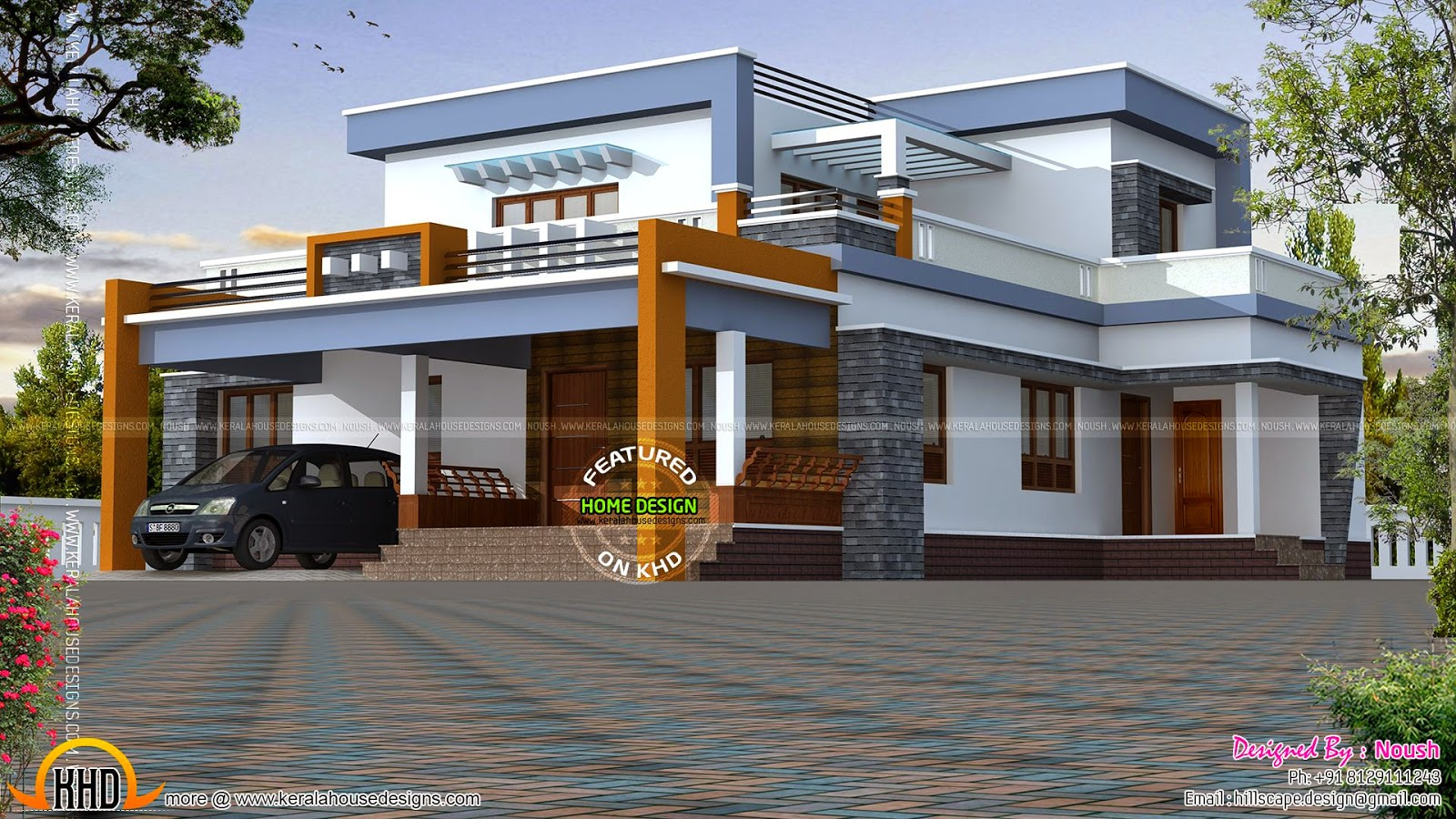 Box type house exterior elevation kerala home design and for Modern roof design types