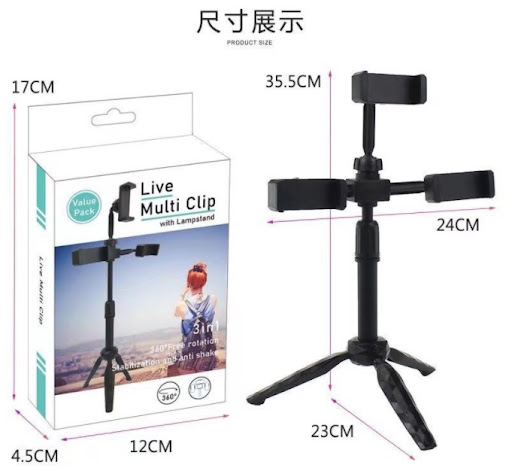 Celphone stand Multi Clip With Lamp Stand 3in1 360 Degree