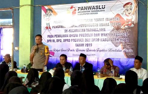 Kapolsek Imbau ke Warga Tarumajaya untuk Hindari Kecurangan Pemilu