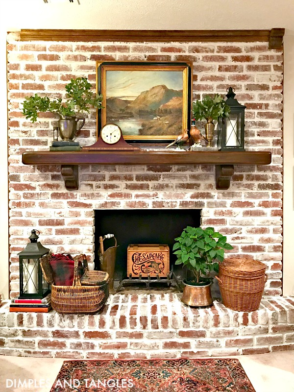 brick fireplace makeover, mortar wash