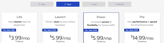 2 years pricing for the shared hosting plan