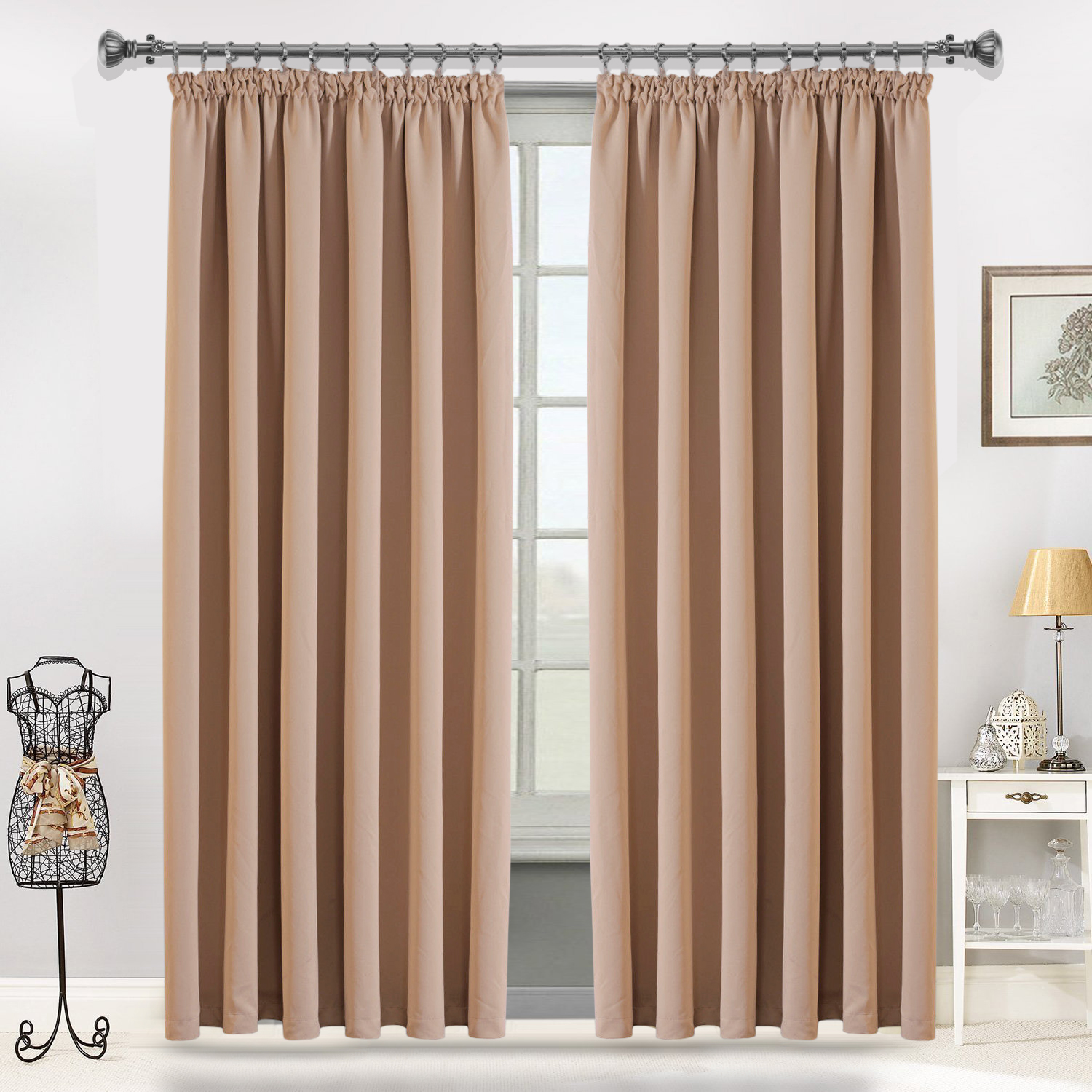 Ready Made Curtains 108 Drop Blackout Pencil Pleat Curtains
