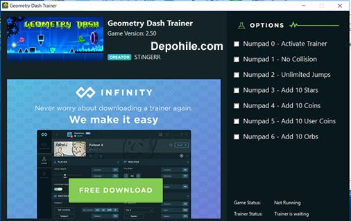 Geometry Dash (PC) Oyunu PARA - Top +6 Trainer Hilesi İndir