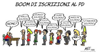 boldrini, pd, LEU, politica, iscritti, tessere, gruppi parlamentari, parenti della Boldrini, vignetta, satira