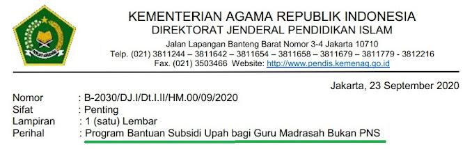 Surat Edaran Program Bantuan Subsidi (BLT) Upah/Gaji Guru Madrasah Bukan (Non) PNS tahun 2020