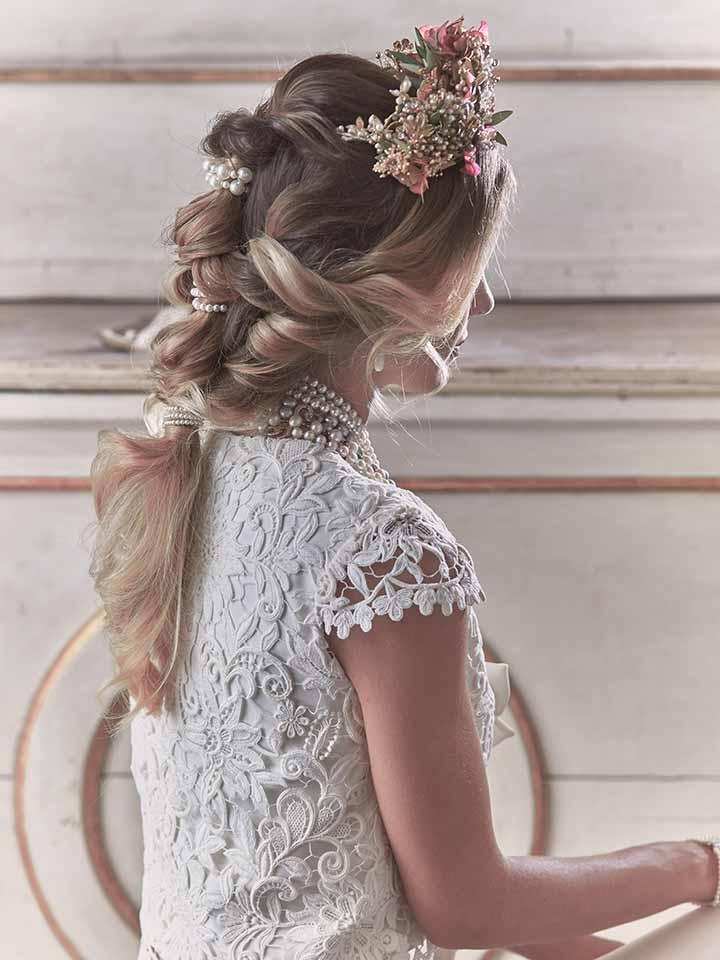 peinado para novia 2020 flores