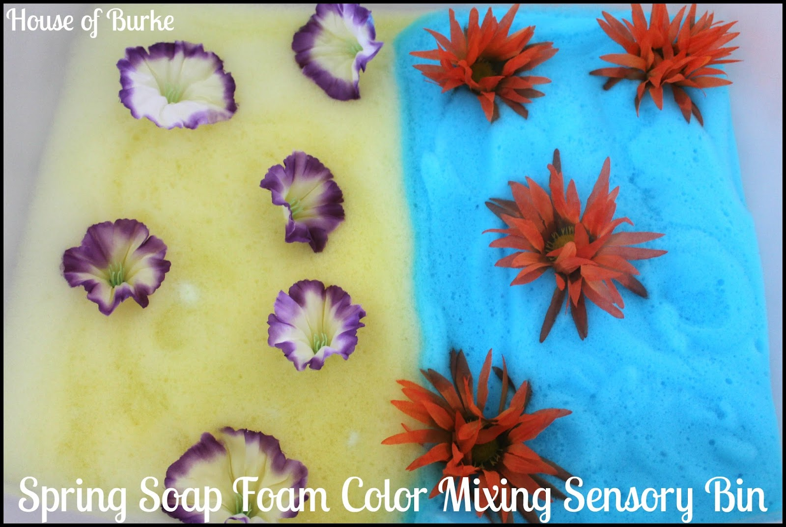 Spring soap foam color mixing sensory bin from House of Burke
