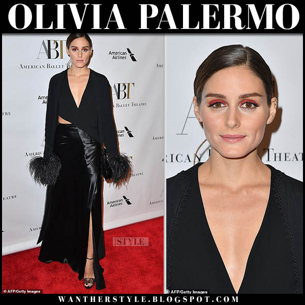 Olivia Palermo in black asymmetric feather trim top and black satin maxi skirt ralph lauren red carpet style october 17