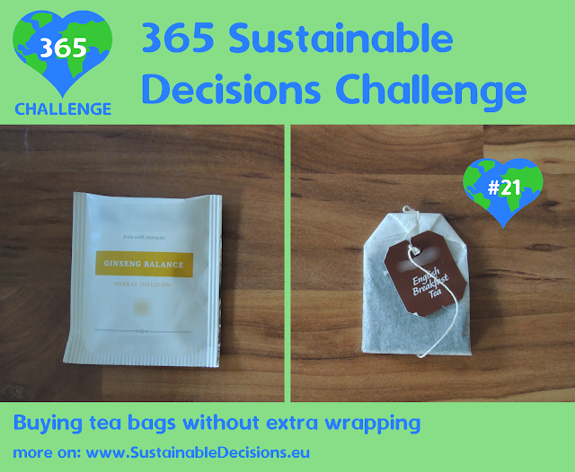 Buying tea bags without extra wrapping reducing waste
