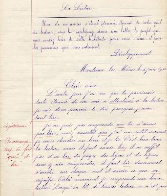 Cahier de rédactions de l'écoles des mines de Blanzy, Librairie-Papeterie G. Courcol, élève Germaine D., née en 1897, 1912 (collection musée)