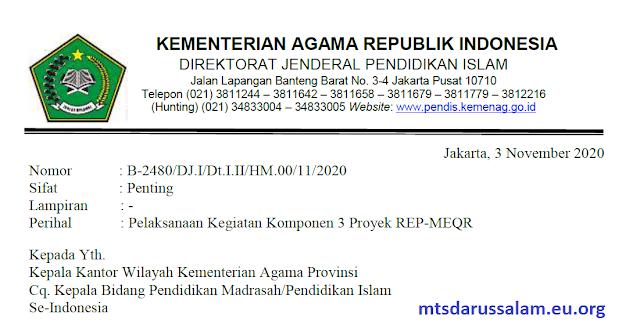 SE Pelaksanaan Kegiatan Komponen 3 Proyek REP-MEQR 2020