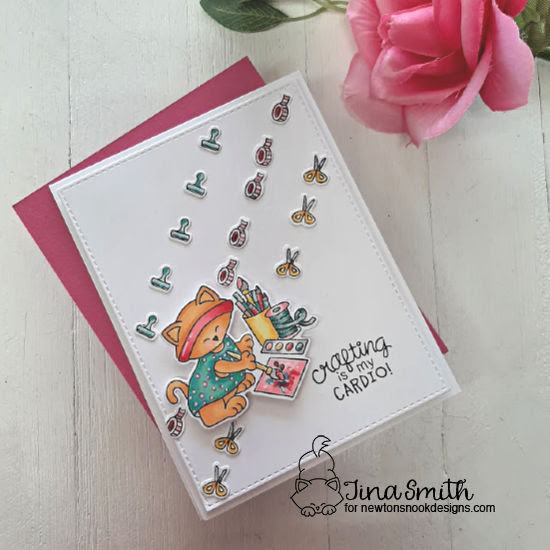 Crafty Cardio Kitty Card by Tina Smith | Newton's Crafty Cardio Stamp Set by Newton's Nook Designs #newtonsnook #handmade