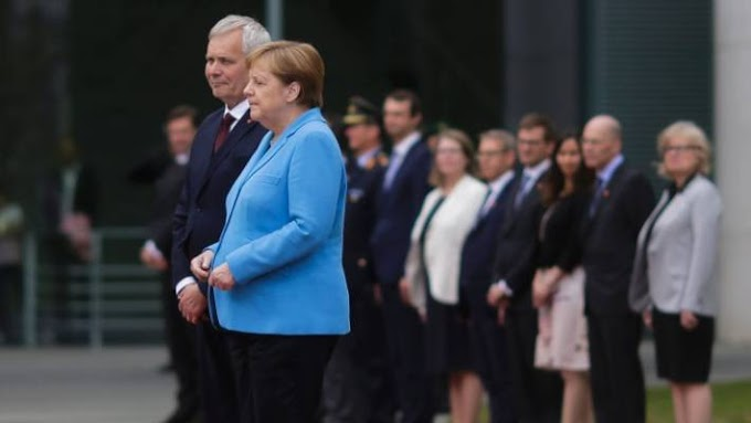 German Chancellor Angela Merkel seen shaking for the 3rd time in a month as she stands alongside Finland's PM in Berlin (Video)