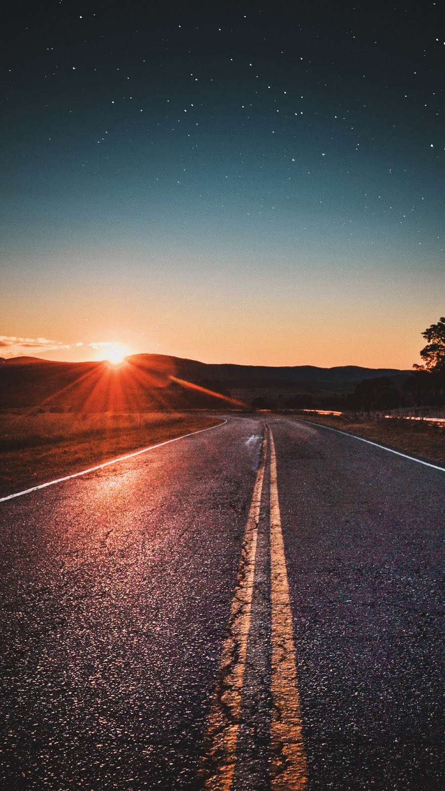 Road in the sunset