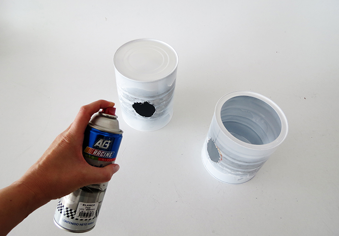 clean the cans and spray paint them insist on the inside of the can. Black Bedroom Furniture Sets. Home Design Ideas