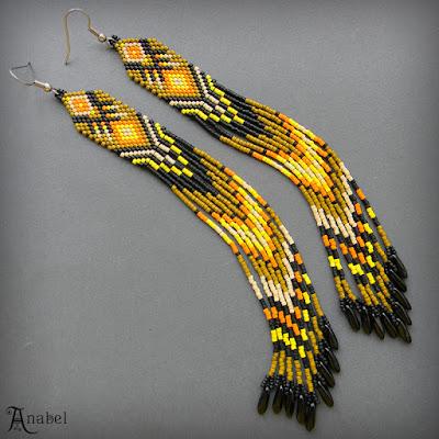 купить яркие серьги индейские сережки из бисера россия